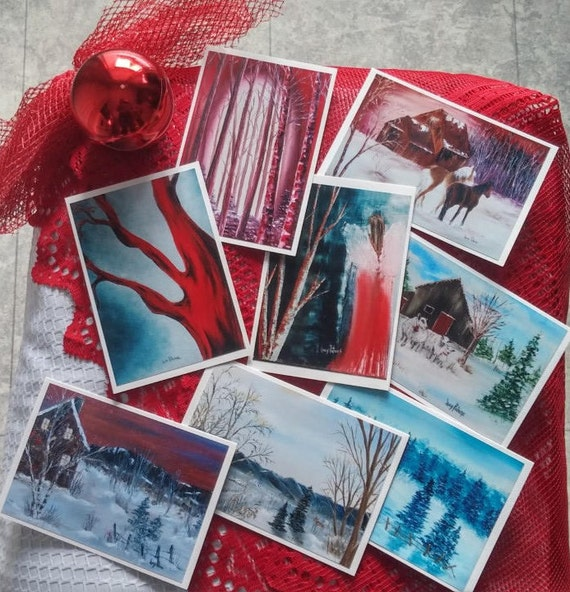 Christmas, landscapes, sheep, trees of Christmas/House/horses/cards of holidays/greeting Christmas cards 8 cards of Christmas/discount for parties/Collection 8