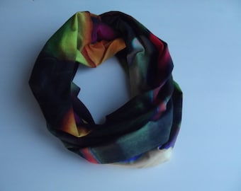 snood scarf in colorful cotton jersey and viscose
