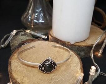 Labradorite Bangle & Arum - gem stone - silver bracelet - gypsy - Bohemian hippie - nature - Valentine's day