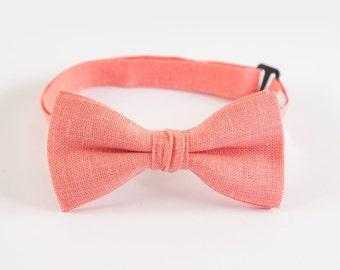 Kids Bow Tie Coral Bow Tie Baby Bow Tie Father Son Matching Bow Ties Boys Bow Tie And Pocket Square