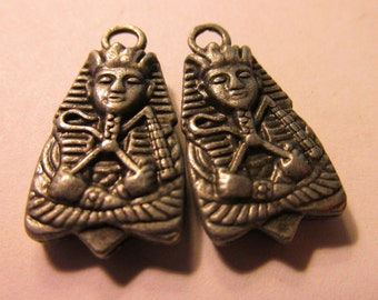 "Egyptian King Tut Charms with Red Rhinestones, 3/4"", Set of 2"
