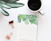 Tropical Leaves To Do Notepad | Daily Planner Notepad with Watercolor Palm Leaves, To Do List Notepad for Desk Stationery