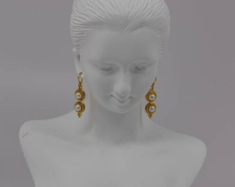 "18K Yellow Gold ""Mikimoto"" Pearl Earrings with J Hook and 2 Pearls on Each"