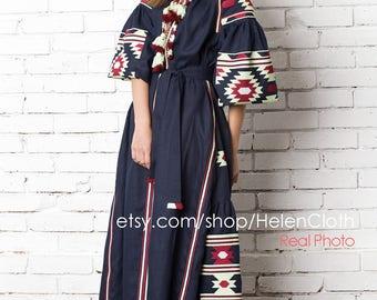 Vyshyvanka Ukrainian Embroidered Linen Dress Maxi Embroidery Kaftan Abaya Ukraine Mexican Style Blue Navy Midi Chic Nationale Bohemian rty
