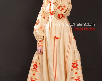 Linen Embroidered Dress Vyshyvanka Ukrainian Dress Mexican golden embroidery oversize Kaftan Abaya Caftan Free Shipping