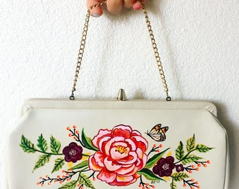 Hand Painted Upcycled Vintage 1960s Handbag Pink Peonies Floral Butterfly Fall Autumn