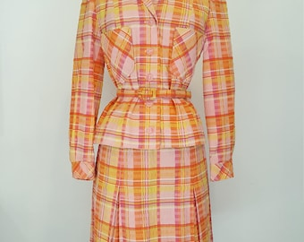 Awesome Vintage 60s Neiman Marcus Plaid Belted Summer Skirt Suit