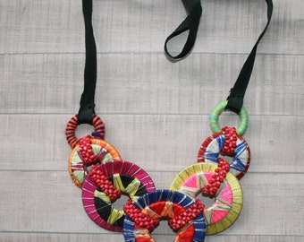 Bright vintage necklace 80s bright summer gift vintage style colorful  chunky necklace statement ribbon necklace rainbow