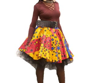 Red Ankara Skirt Ankara Midi Skirt Ankara Knee Length Skirt African Print Skirt African Clothing For Women Colorful African Print Skirt Red