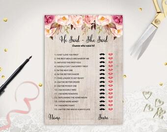 Bride Or Groom Game He Said She Bridal Shower Games Printable Floral Wedding