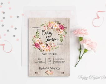Baby Girl Shower Invitation Floral Baby Shower Invitation Printable Boho Baby Invitation Blush Baby Shower Bohemian Baby Shower Template