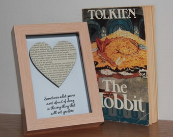 Recycled 1970's The Hobbit J R R Tolkien Book Box frame art, with a hand stamped, embossed Courage quote