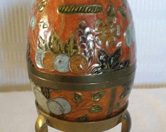 Cloisonne egg with brass stand , Cloisonne egg, decorative egg, cloisonne , cloisonne art , cloisonne decor, home decor  eclectic