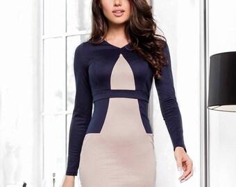 Office dress Beige / Dark blue Dress casual wear Midi dress Sheath dress Casual womens dress Knee jersey dress Spring dress long sleeve
