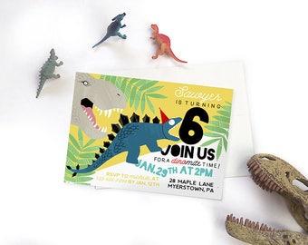 Dinosaur Birthday Invitation, T-Rex Birthday Invite, Printable Digital Dinosaur Invitation