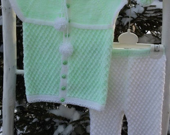 Baby set 3 parts, baby suit, Baby costume, Clothing, baby gift, children knits, warm, soft, sweater, pants, booties, boots, shoes, winter