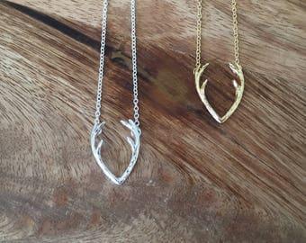 Antler Necklace | Gold Antler Necklace | Horn Necklace | Gift for Her | Valentine's Day gift