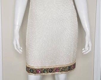 Vintage Laurence Kazar Beaded Sheath Dress, Size Petite Small