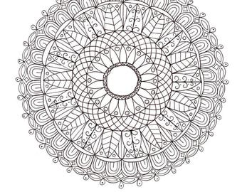 PDF Printable Colouring Page: Mandala 1 from Colouring Book 2