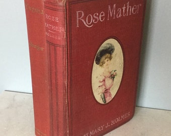 Set of Two Red Decorative Antique books, Rose and Virginia.