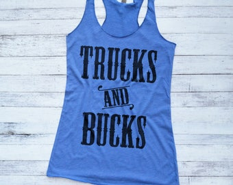 Country Shirt, Trucks and Bucks Tank Top, Trucks Cowboys and Country Music, Hunting Shirt for Women, Off Road Tee
