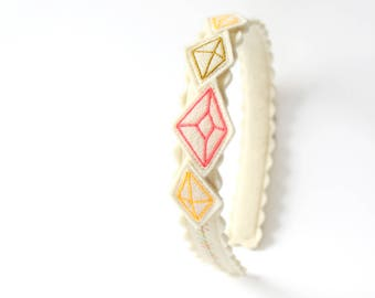 Gold and Pink Diamond Headband / Wool Felt / Girl's Accessory / Kid's Fashion