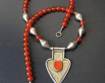 Turkmen Asyk Pendant and Carnelian Necklace E 02