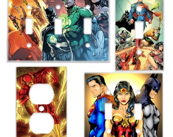 Justice League Light Switch Cover & Power Outlet Plate (Superman Batman Wonder Woman The Flash Green Lantern) DC Comic Room Decor