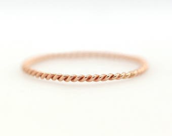 Twist Ring, Twist Rope Ring, 14k Gold Ring, Rope Ring, 1.2mm Twist Ring, Minimalist Ring, Stacking Ring, Engagement Ring, Wedding Ring