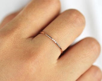 minimalist diamond ring 14k solid gold diamond band 1mm full round thin ring with - Wedding Engagement Rings