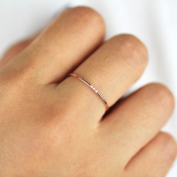 Minimalist Diamond Ring 14k Solid Gold Diamond Band 1mm Full