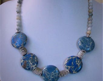 Necklace with Jasper discs, beads of Agate and Silver, 42 cm