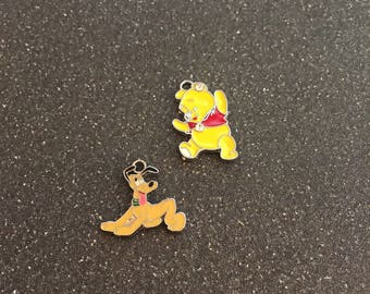 Winnie the Pooh and Pluto charms
