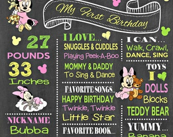 Minnie Mouse Birthday Chalkboard Poster - Wall Art design - First Birthday Poster Sign - Any Age