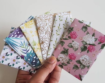 Set of 6 gift card envelopes //Business Card Holder //Mini Envelopes //Scrapbooking Envelopes// Coin Envelopes // Gold foil floral