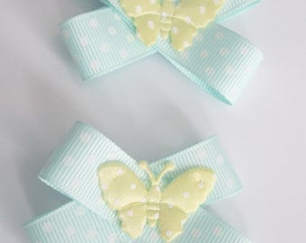 Butterfly hairbow, Spotty hairbow, Mint green hair bow, Girls hair clips, Summer bows, Set of bows, Green and yellow, Butterfly bows, Girls