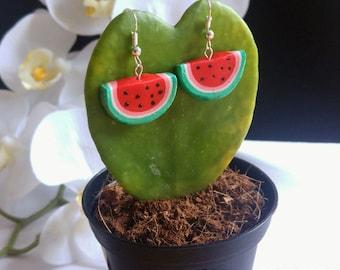 Watermelon Earrings fimo//earrings handmade watermelon//clay//Polymerclay//