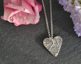 Handmade fine silver heart necklace, sterling silver chain, vintage style, gifts for her, bridesmaids gifts, mothers day gifts, silver heart