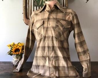 Original Pendleton Virgin Wool Flannel Shirt w/ Pearl Snaps  - Size Medium