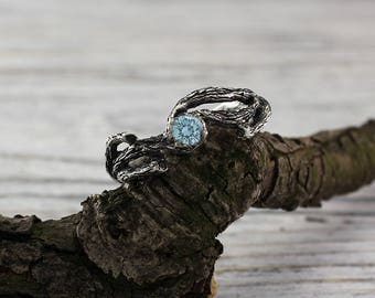 Topaz unique twig engagement ring, Branch topaz ring, Tree engagement ring, Silver tree ring, Topaz engagement ring, Nature engagement ring