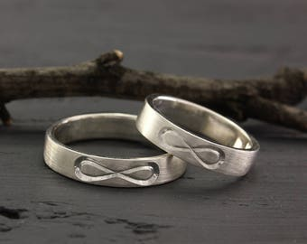 Infinity Bands Set In Silver His And Her Band Simple Wedding Rings