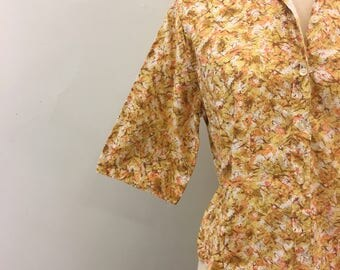 Golden summer top * Vintage 1950s button-down blouse * 50s cotton collared shirt