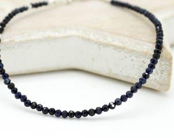 Blue Sapphire layer bracelet, Sapphire and silver Dainty bracelet, Sapphire stacking bracelet, Silver layer bracelet,Blue gem Bracelet