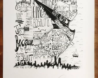 Limited Run, Bruce Springsteen Hand Lettering and Illustration Print, Signed and Numbered by the Artist!