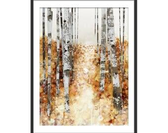 Autumn Print. Leaf Print. Autumn Trees. Autumn Leaves. Tree Picture. Wall Decor