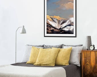 Mountain Print. Skiing. Mountain Art. Mountain Painting. Mountain Gifts. Wall Art. Wall Decor.
