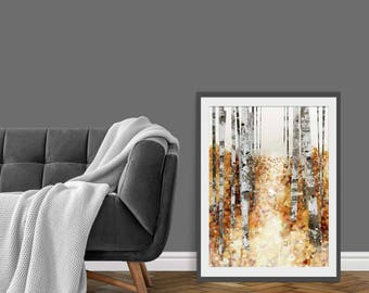 Autumn Print. Leaf Print. Autumn Trees. Autumn Leaves. Tree Picture. Wall Decor