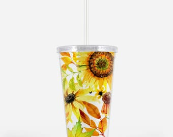 Sunflower Tumbler - Fall Tumbler Gift - Fall Home Rustic Tumbler - Sunflower Bridesmaid Gift Acrylic Tumbler - Bridesmaid Tumbler With Straw