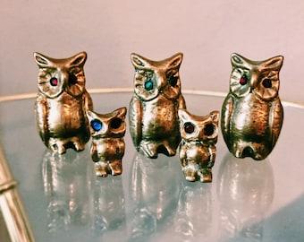 Vintage Brass Owl Family / Set of Five Small Brass Owls w/ Rhinestone Eyes