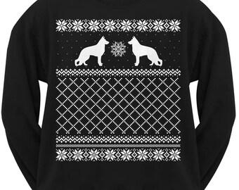 German Shepherd Black Adult Ugly Christmas Sweater Crew Neck Sweatshirt